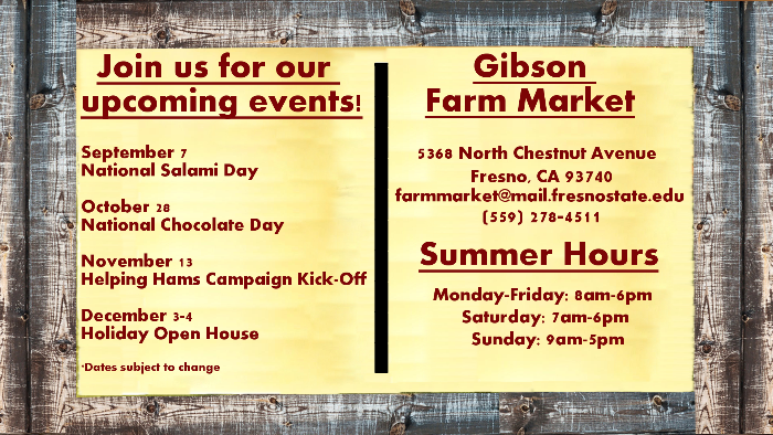 Gibson Farm Market Upcoming Events