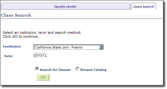 My Fresno State Class Search Select Institution And Term Image