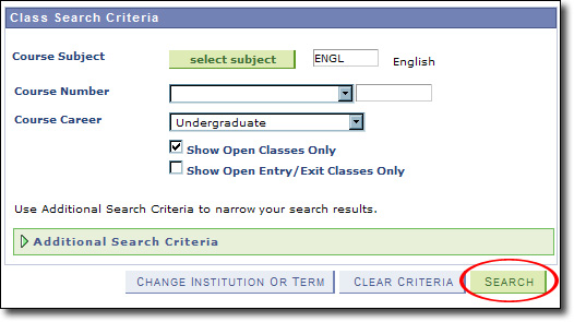 My Fresno State Class Search Criteria Image