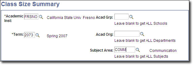 My Fresno State Class Size Summary Search Image
