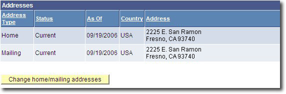 My Fresno State Change Home/Mailing Addresses Link Image