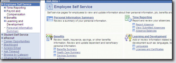 Employee Self Service Page Screenshot