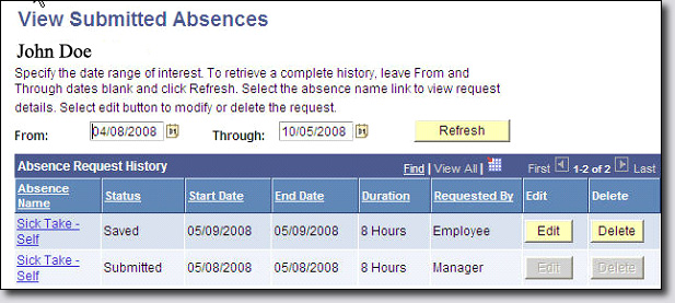 View Submitted Absences screenshot