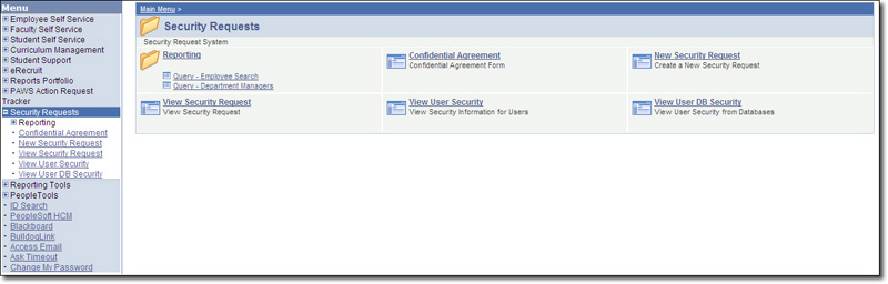 Security Request Page Screenshot