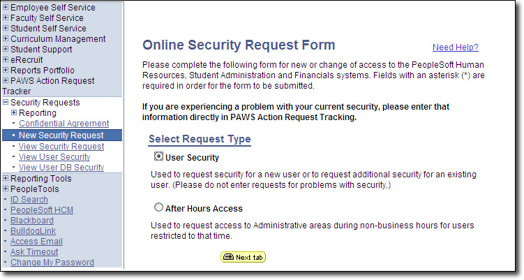 Security Request Page User Security Option Screenshot