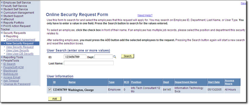 Security Request User Information Page Screenshot