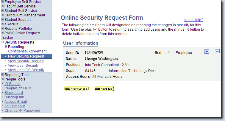 Security Request User Information Summary Page Screenshot