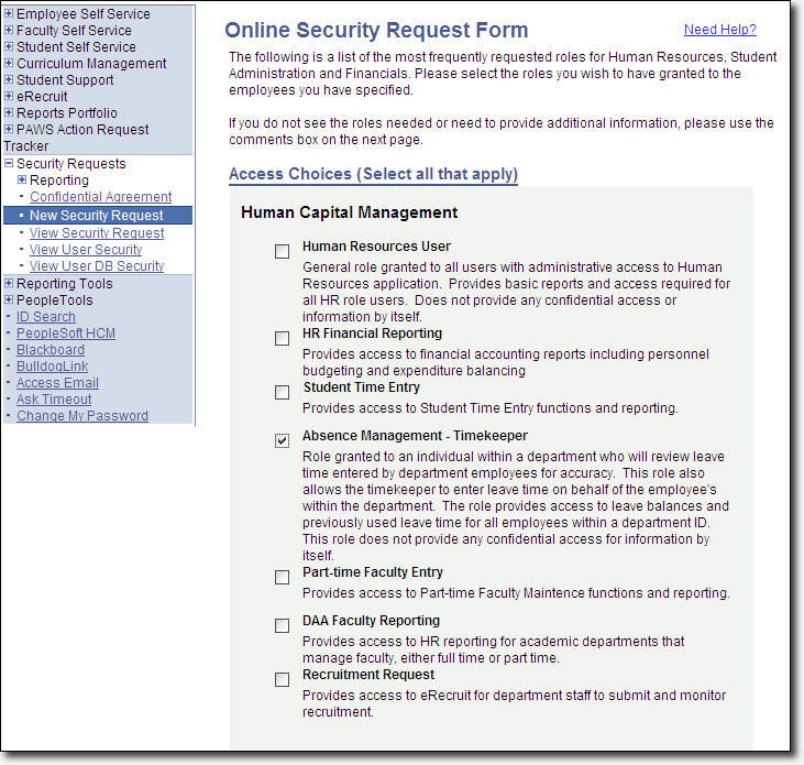 Security Request Select Access Page Screenshot