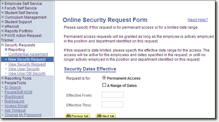 Security Request Security Dates Page Screenshot
