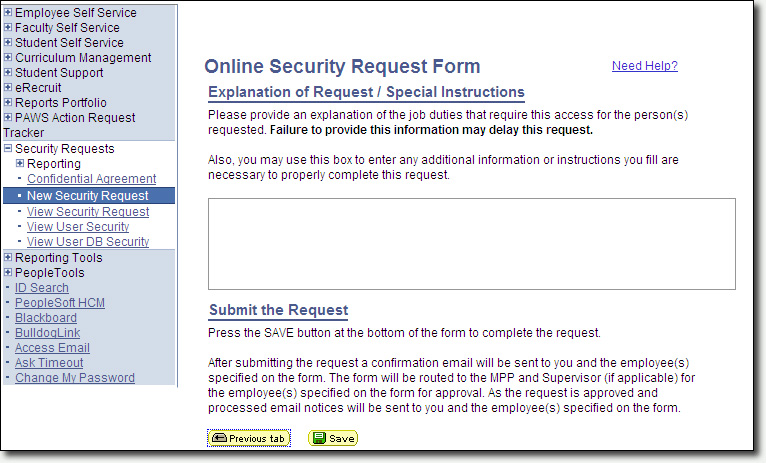 Security Request Explanation of Request Page Screenshot