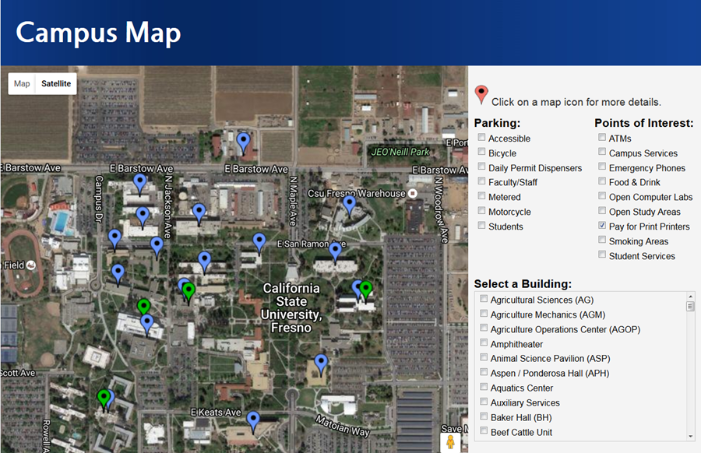 Fresno State Pay for Print Map