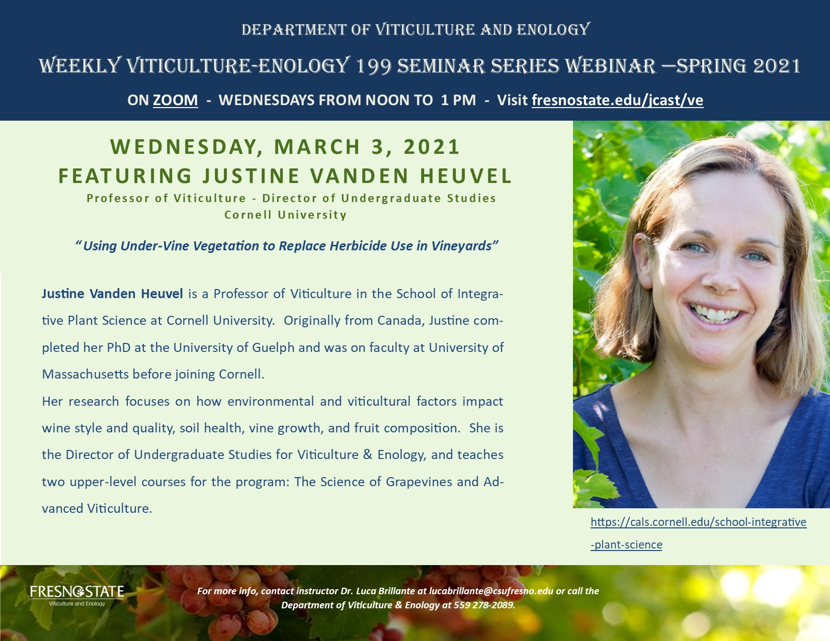 Dr. Justine Vanden Heuvel Seminar Series March 3